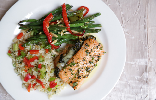 Stuffed Salmon with Rice Pilaf and Green Bean Almondine